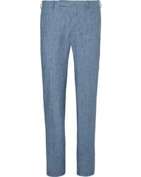 Ermenegildo Zegna Blue Mlange Linen Trousers