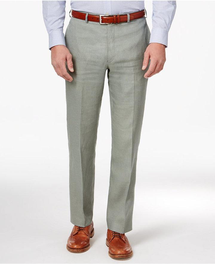 c49142a1df Lauren Ralph Lauren Classic Fit Solid Linen Dress Pants