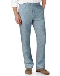 Charles Tyrwhitt Light Blue Classic Fit Linen Tailored Pants Size W38 L32 By