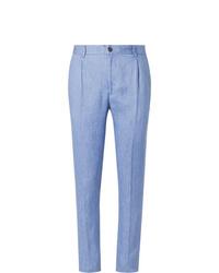 Tod's Light Blue Linen Suit Trousers