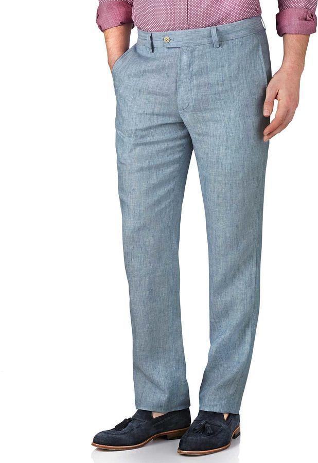 d40175d4 Charles Tyrwhitt Light Blue Slim Fit Linen Tailored Pants Size W34 L30 By,  $79   Charles Tyrwhitt   Lookastic.com