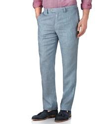 Charles Tyrwhitt Light Blue Slim Fit Linen Tailored Pants Size W34 L32 By