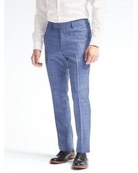 Banana Republic Slim Monogram Blue Plaid Wool Blend Suit Trouser