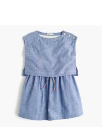 J.Crew Girls Linen Cotton Tiered Dress