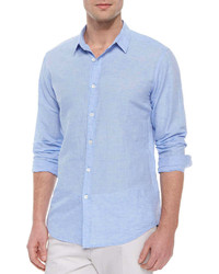 Light Blue Linen Long Sleeve Shirt