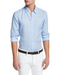 Ermenegildo Zegna Linen Woven Sport Shirt Soft Blue