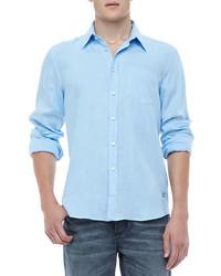 Vilebrequin Linen Long Sleeve Linen Shirt Light Blue