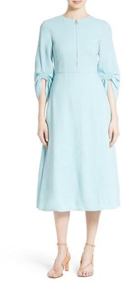 c1af7f7d84 ... Tibi Marta Smocked Sleeve Linen Blend Midi Dress ...