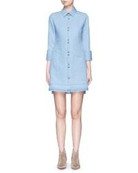 J Brand Bacall Frayed Hem Chambray Shirt Dress