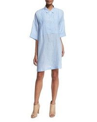 Half sleeve linen shirtdress light blue medium 3718718