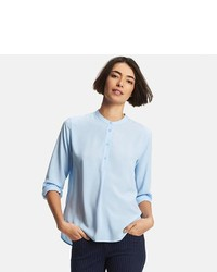 Uniqlo Collarless Long Sleeve Blouse
