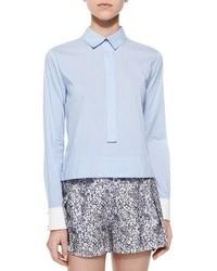 Long sleeve striped henley blouse medium 1315532