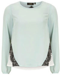 Dorothy Perkins Luxe Mint Long Sleeved Chiffon Blouse
