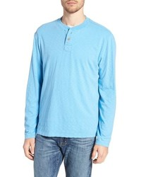 Light Blue Long Sleeve Henley Shirt