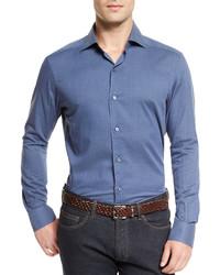Ermenegildo Zegna Baby Flannel Long Sleeve Sport Shirt Blue