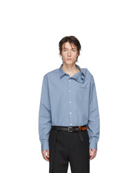 Y/Project Blue Asymmetric Collar Shirt