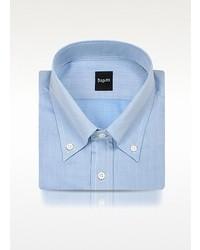 Bagutta Blue Fine Lines Italian Button Down Dress Shirt