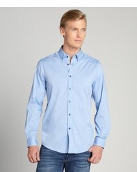 Report Collection Blue Long Sleeve Solid Stretch Button Down Shirt