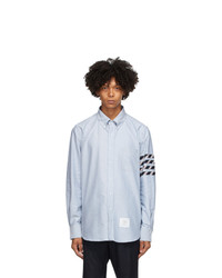 Thom Browne Blue Oxford 4 Bar Straight Fit Shirt