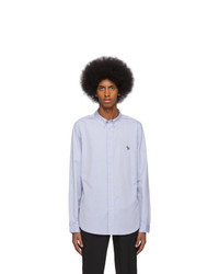 Ps By Paul Smith Blue Oxford Zebra Shirt
