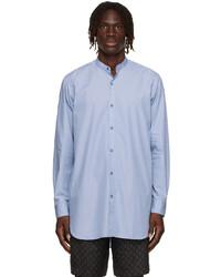Dries Van Noten Blue Poplin Collarless Shirt