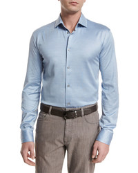 Ermenegildo Zegna Cottonsilk Long Sleeve Sport Shirt Light Blue