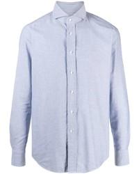 Tagliatore Cutaway Collar Long Sleeved Shirt