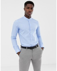 Calvin Klein Extra Slim Stretch Shirt Grandad Collar Light Blue