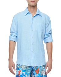 Vilebrequin Linen Long Sleeve Linen Shirt Shirt Light Blue