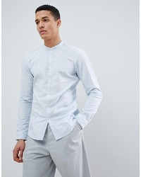 Tom Tailor Long Sleeve Grandad Shirt In 100% Cotton