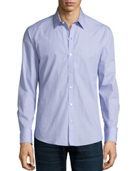 Zachary Prell Miniature Square Long Sleeve Sport Shirt Blue