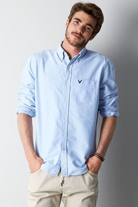 American Eagle Outfitters O Solid Button Down Shirt   Where to buy ...
