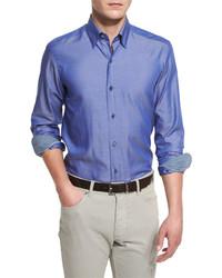 Ermenegildo Zegna Polished Solid Long Sleeve Sport Shirt Blue