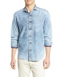 Bugatchi Shaped Fit Acid Wash Sport Shirt