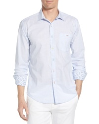 Bugatchi Shaped Fit Stripe Cotton Sport Shirt