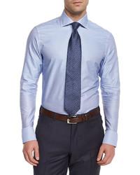 Ermenegildo Zegna Solid Long Sleeve Woven Shirt Dark Blue