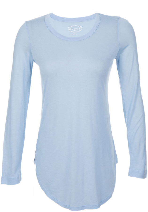 ... Light Blue Long Sleeve T-shirts Scoop Long Sleeve Crew Neck Tee