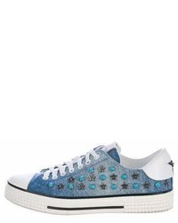 Valentino Denim Embellished Sneakers