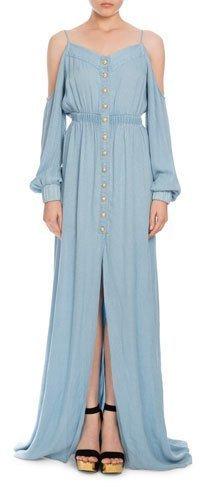 9ec9f09c51 ... Balmain Cold Shoulder Chambray Maxi Dress Light Blue ...