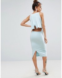Asos Crop Top Midi With Strap Back Dress