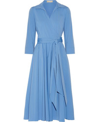 Michael Kors Michl Kors Collection Cotton Blend Poplin Wrap Midi Dress Blue