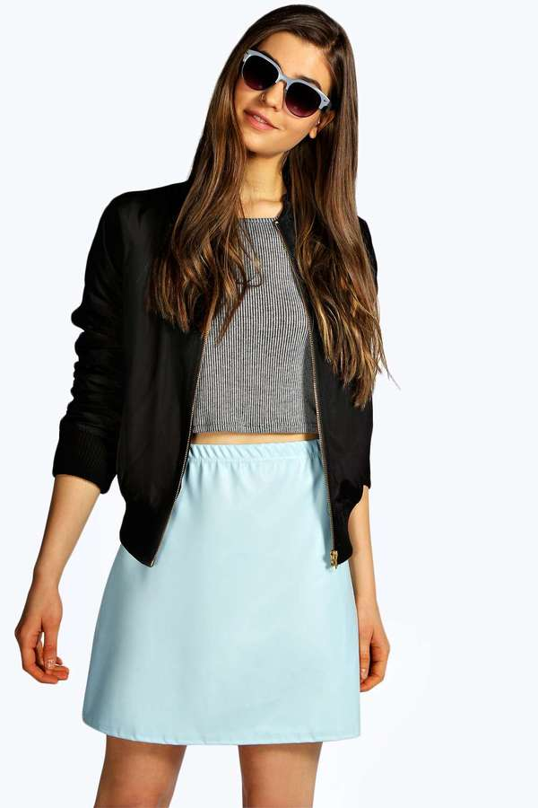 Boohoo Janie A Line Leather Look Mini Skirt | Where to buy & how ...