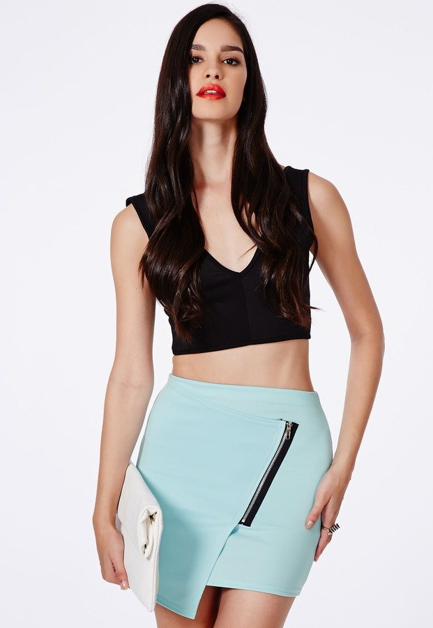 Missguided Ernestina Wrap Over Mini Skirt With Zip Detail In Baby ...