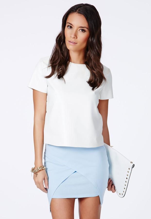 Missguided Lennia Wrap Over Mini Skirt In Baby Blue ...