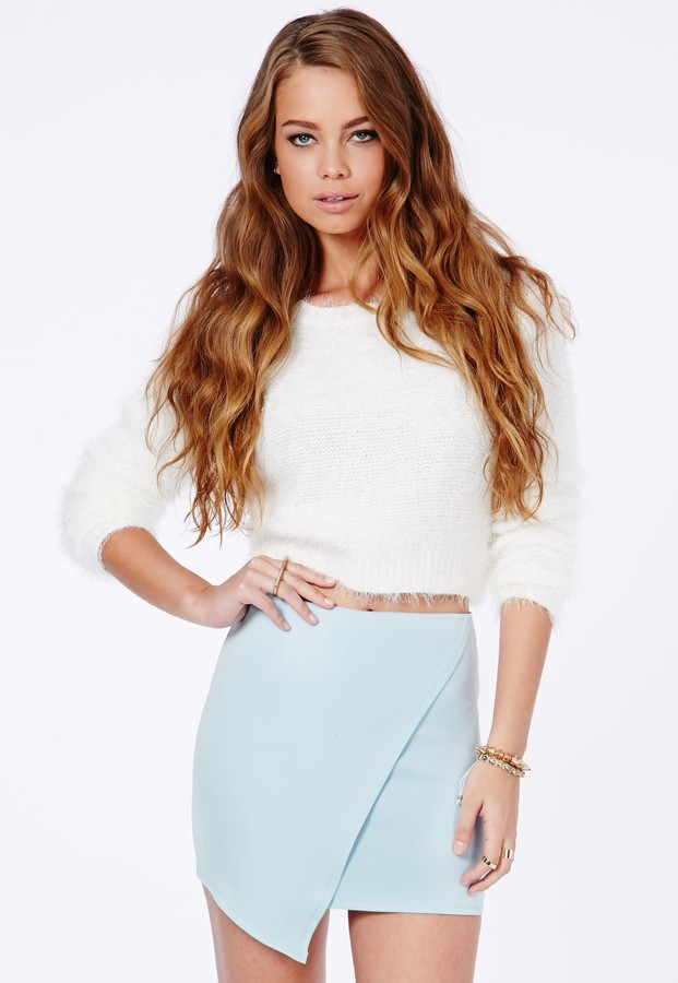 Missguided Milagros Wrap Over Mini Skirt In Baby Blue | Where to ...