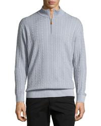 Light Blue Mock-Neck Sweater