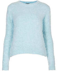 Light Blue Mohair Crew-neck Sweaters for Women | Women's Fashion