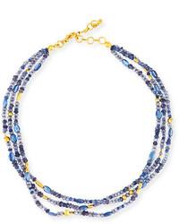 Gurhan Blue Rain Flurries Three Strand Necklace