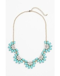 Stephan & Co. Floral Statet Necklace Blue Ivory One Size