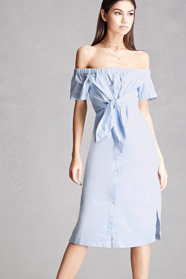 cc5b7eeedad0 ... Light Blue Off Shoulder Dresses Forever 21 Buttoned Off The Shoulder  Dress ...